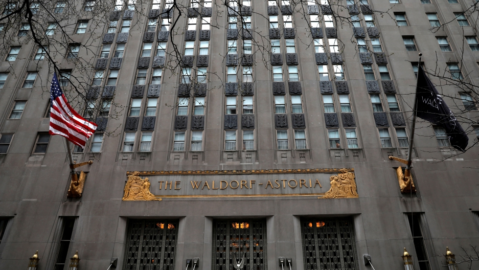 An exterior view of the world famous Waldorf Astoria Hotel in midtown Manhattan