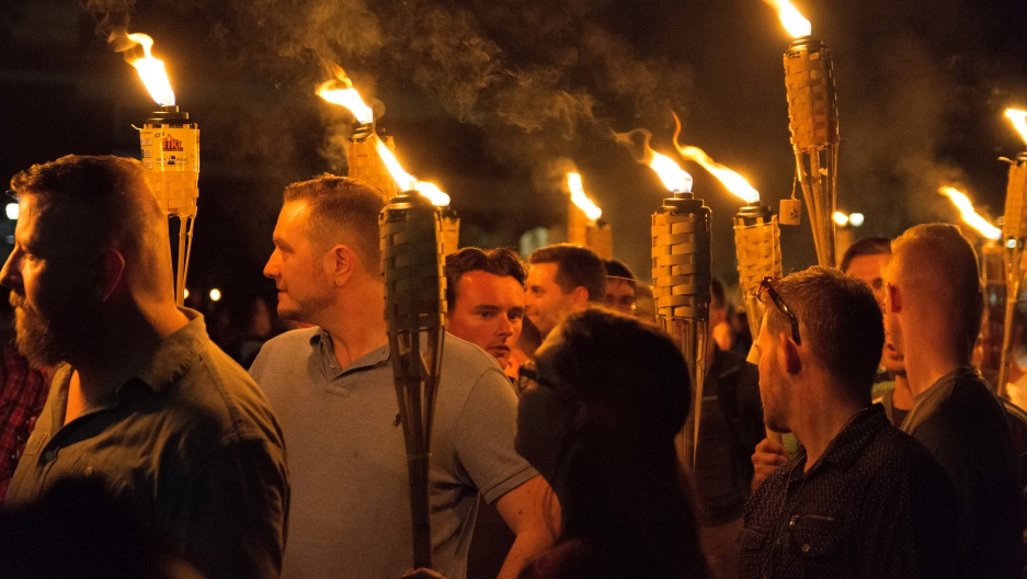 White nationalists carry torches
