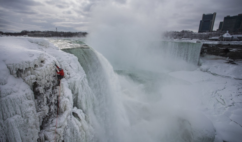 Canadian climber Will Gadd ascending Niagara Falls