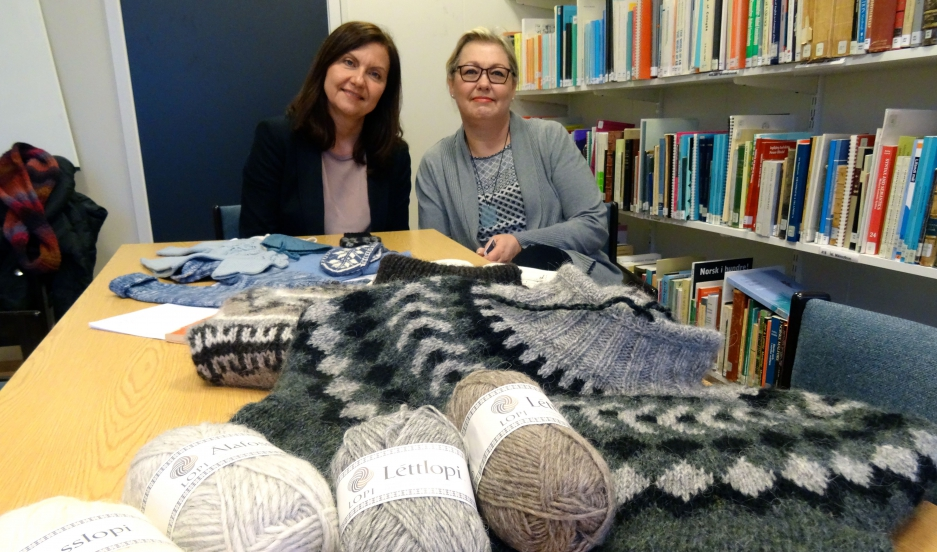 Hulda Hákonardóttir and Guðrún Hannele Henttinen help come up with new Icelandic words as part of the Iceland's knitting language committee.