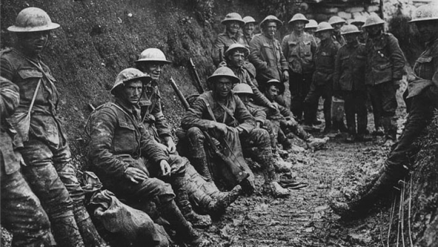 A ration party of the Royal Irish Rifles in a communication trench during the Battle of the Somme.