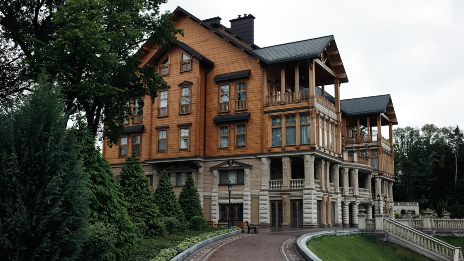 The the main club house inside Mezhgorye, the residence of Ukraine's ousted president Victor Yanukovych.