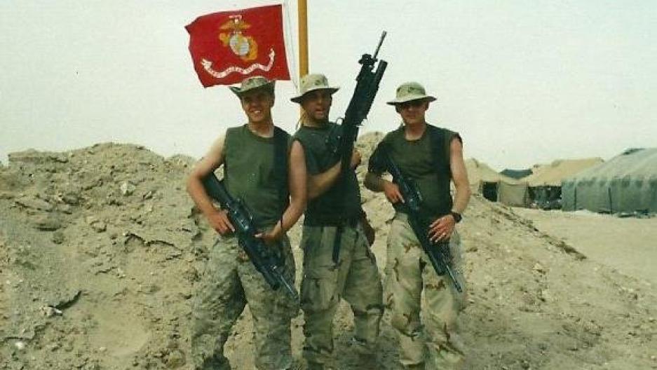Jeff Edwards (L) with Marine buddies in Iraq in 2003
