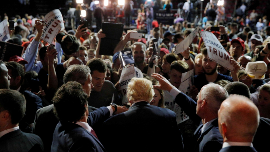 Donald Trump appears at a campaign rally in Maine.
