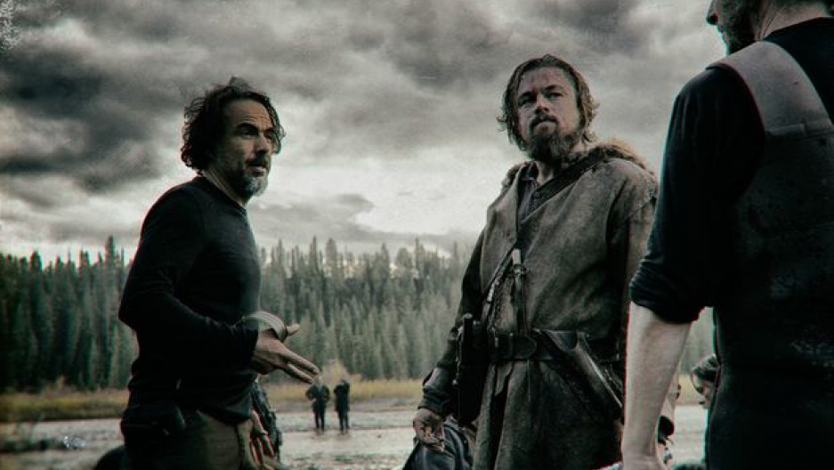 "Alejandro González Iñárritu with Leonardo DiCaprio on the set of ""The Revenant"" (Twentieth Century Fox)"