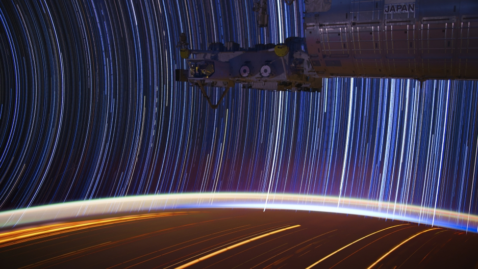 Star trails, as seen from the International Space Station