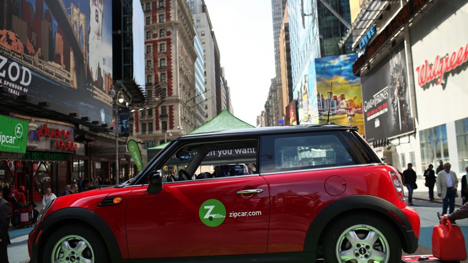 a zipcar is displayed during a promotion of the short term car rental company on april 14 2011 in times square in new york city