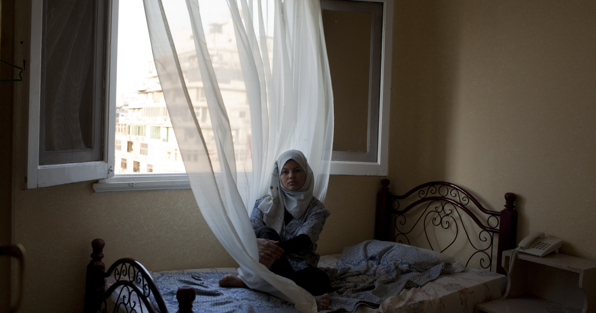 Samira Ibrahim in a hotel room in Cairo, Egypt on October 17, 2011.</p>
