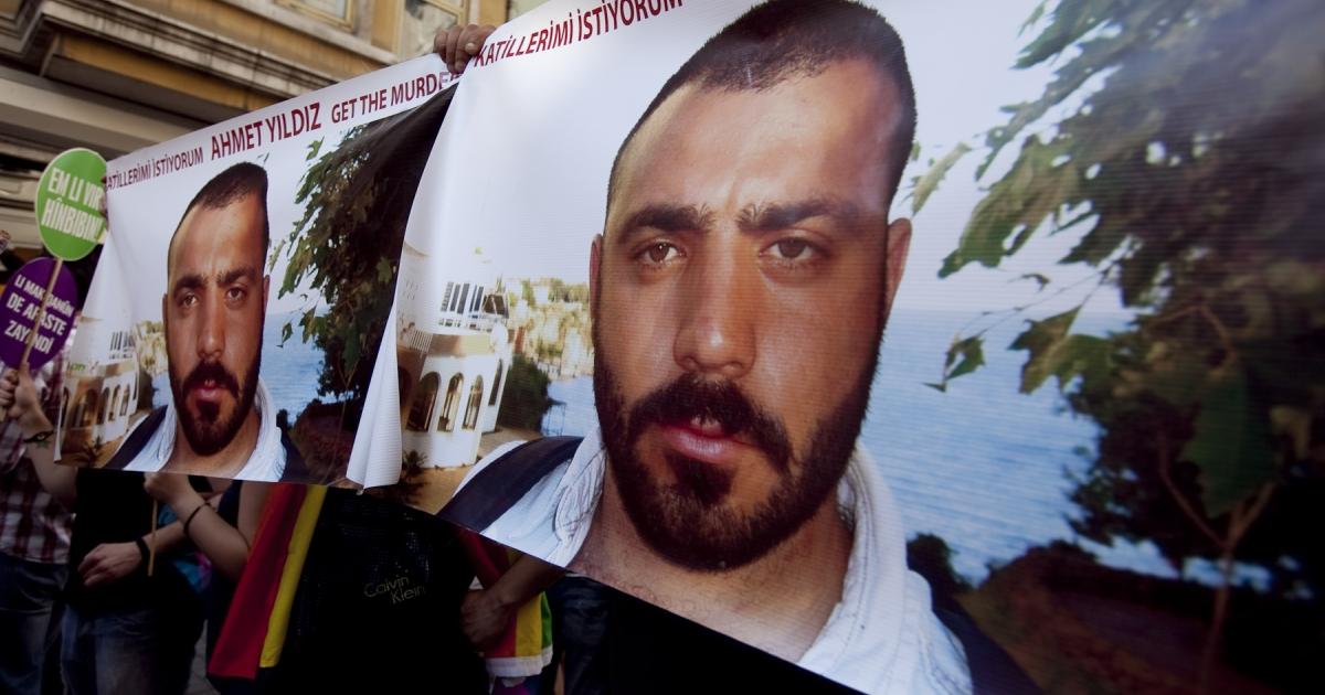 Demonstrators tried to raise awareness of the 2008 murder of Ahmet Yildiz (