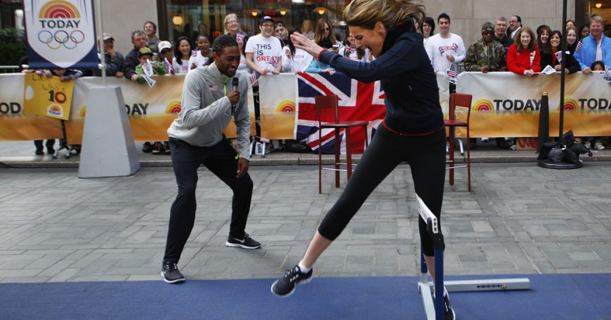 Today Show co-host Natalie Morales tries to jump a hurdle with Olympic athlete Jason Richardson during a 100 Days to the London Olympics celebration today in New York City.</p>