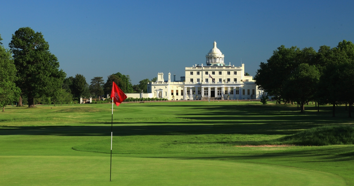 The golf course and hotel at Stoke Park in Stoke Poges, England.</p>