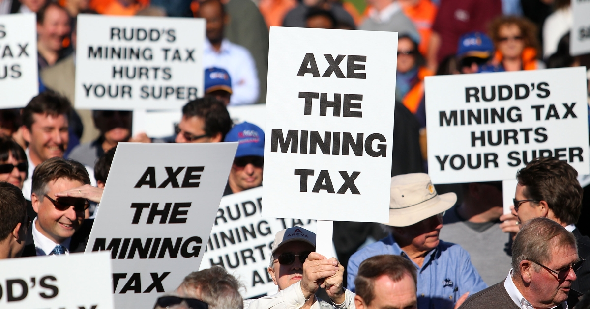 Protesters rally in Perth, Western Australia, against the government's proposed mining tax, targeting an address by Prime Minister Kevin Rudd to the Perth Press Club on June 9, 2010. Rudd was in Western Australia to campaign for his proposed 40 percent resources super profits tax amid falling approval ratings in recent polls and strong opposition from the mining industry.</p>