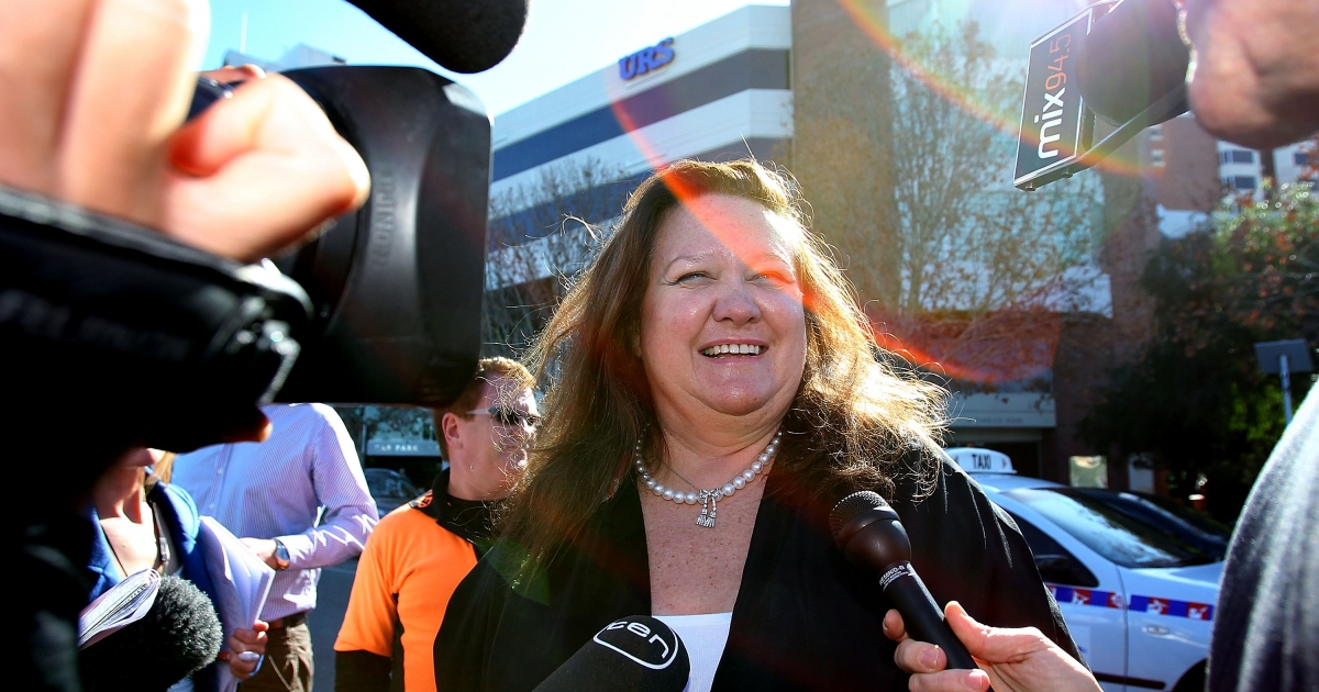 Gina Rinehart, chairman of Hancock Prospecting joins a protest against a proposed 40 percent resources super profits tax outside the Perth Press Club on June 9, 2010 in Perth, Australia.</p>