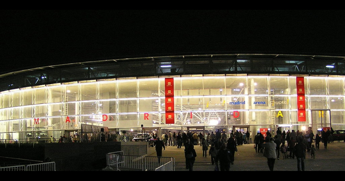 The facade of the Madrid arena, where the deadly Halloween stampede took place early on November 1st.</p>