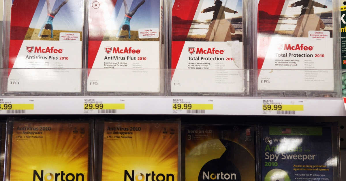Boxes of Norton Anti-virus software by Symantec are displayed alongside McAfee security software on a shelf at a Target store August 19, 2010 in Colma, California.</p>