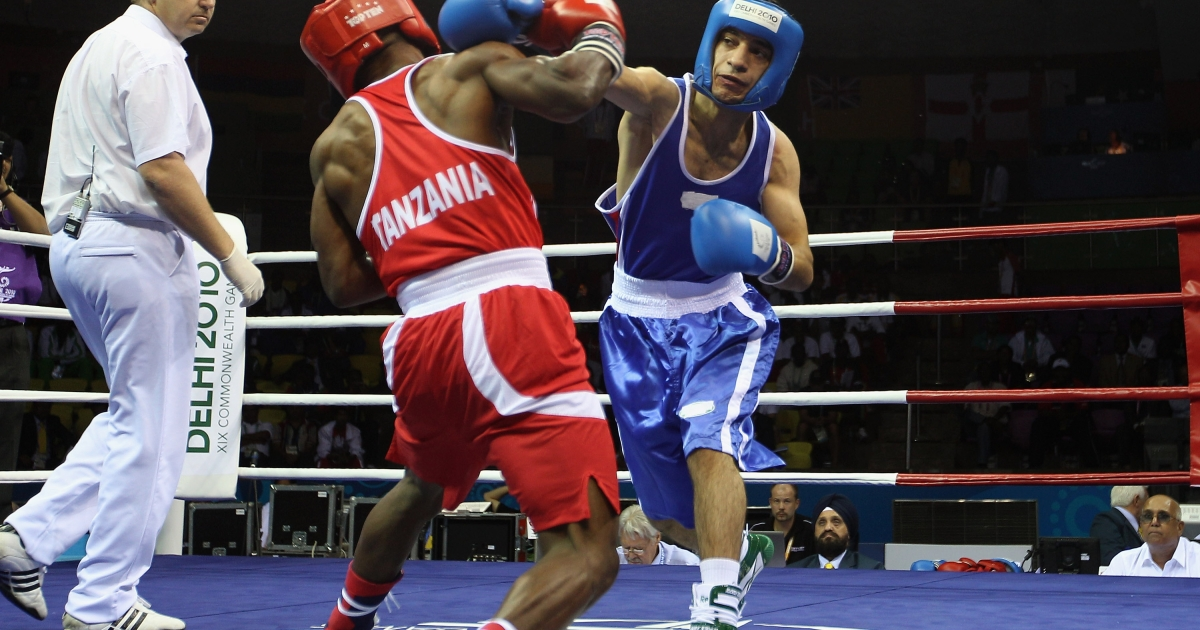 Pakistan Boxer Mohammad Waseem participates at the 52kg Fly weight division at the Talkatora Indoor Stadium during day two of the Delhi 2010 Commonwealth Games on October 5, 2010 in Delhi, India.</p>