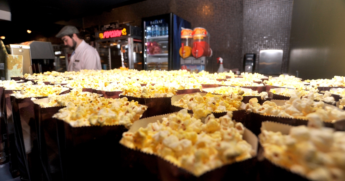 The concession stand serving soft drinks and popcorn at Landmark Sunshine Theater in New York City on October 21, 2010.</p>