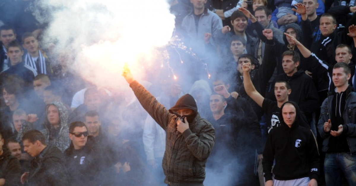 Sex drive in action. Fans of Partizan light a flare at Belgrade's 'Marakana' stadium during the Serbian football derby match on October 23, 2010. Heavy police presence and strict hooligan control prevented feared violence at the tense Serbian derby.</p>