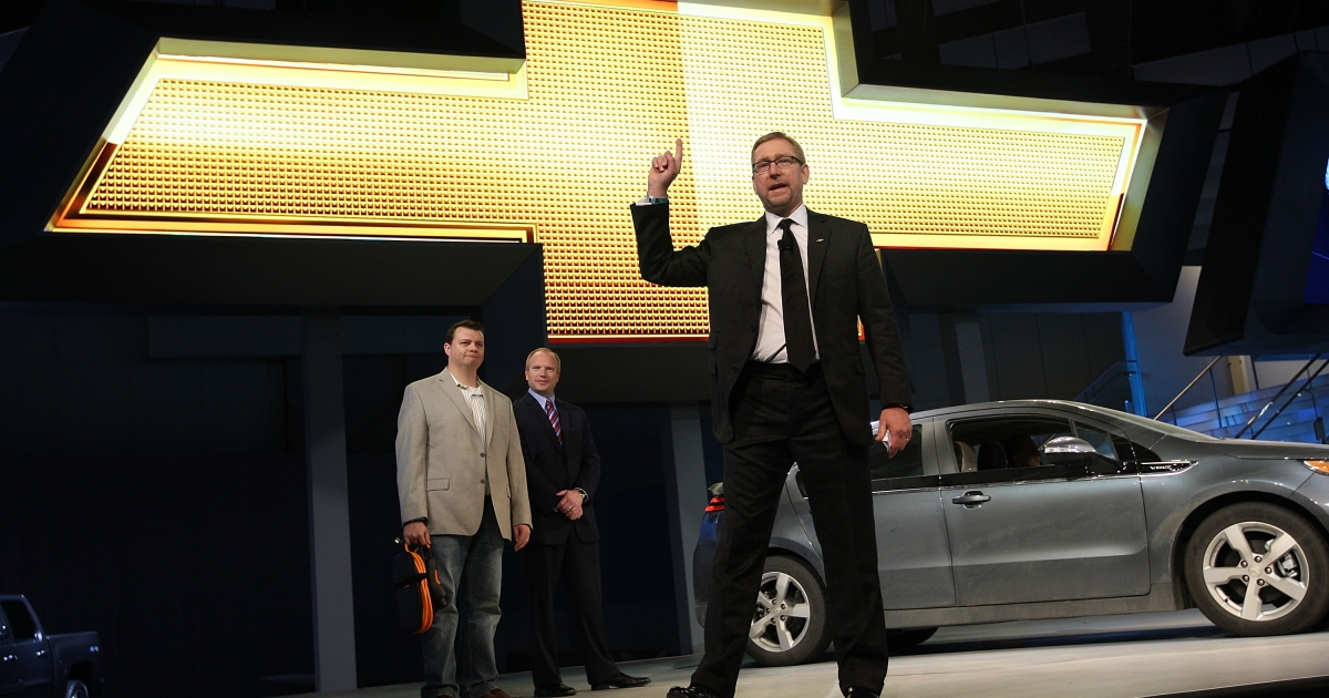 General Motors US Marketing Vice President Joel Ewanick, who drove a Chevy Volt 2,400 miles to appear at the Los Angeles Auto Show, speaks at the unveiling of the Camero convertible at the two-day media preview event for the 2010 Los Angeles Auto Show on November 17, 2010 in Los Angeles, California.</p>