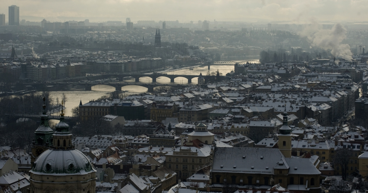 Prague is famous for its bridges: this photo taken on January 24, 2011 from the Saint Vitus Cathedral shows the Charles Bridge connecting the Old Town quarter and Mala Strana or Lesser Quarter over Vltava river after a snowfall.</p>