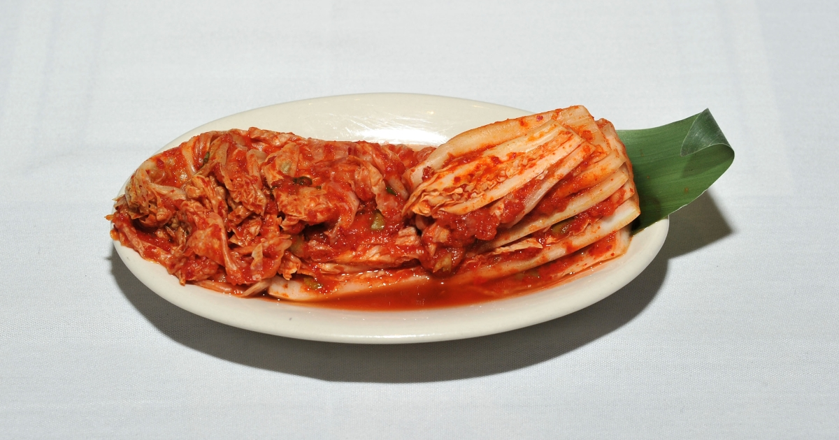 Kimchi is a traditional Korean dish of spicy fermented cabbage and radish.</p>