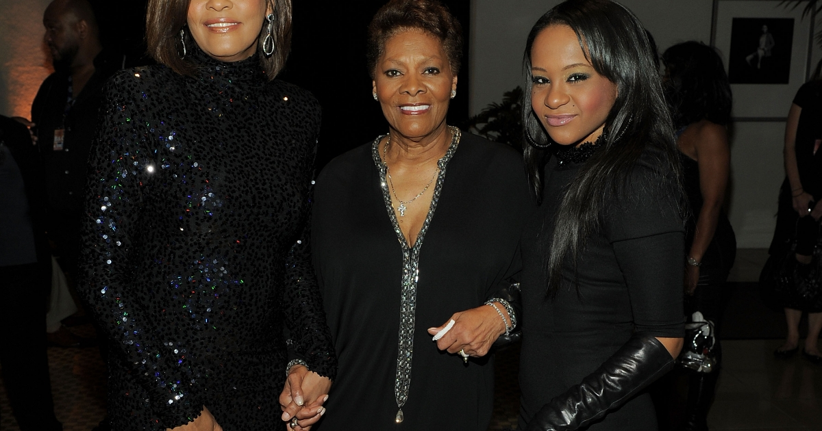 Singer Whitney Houston, Singer Dionne Warwick and Bobbi Kristina Brown arrives at the 2011 Pre-GRAMMY Gala at the Beverly Hilton on February 12, 2011.</p>