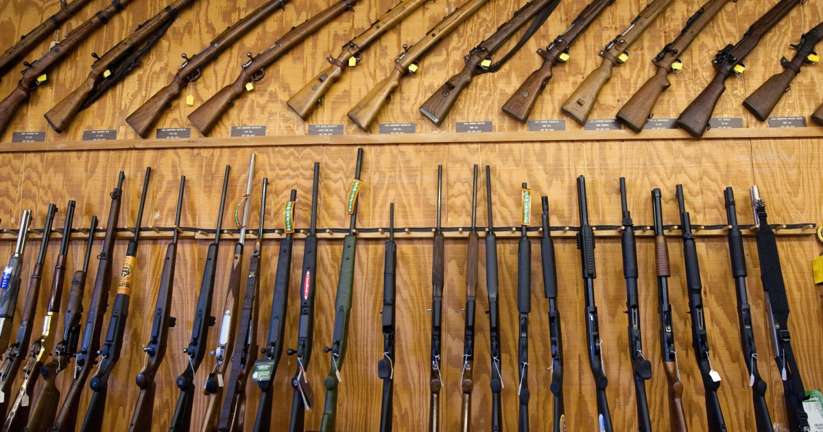 An assortment of rifles and shotguns at a gun expo in El Paso, Texas, USA, on March 13, 2011.</p>