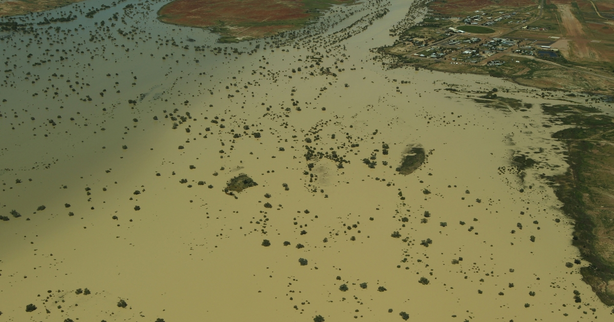 The flooded Diamantina River around Birdsville, Australia, is seen from the air with the on March 28, 2011. Queensland suffered a series of extreme floods from December 2010 to January 2011, affecting more than 200,000 people across more than 70 towns.</p>