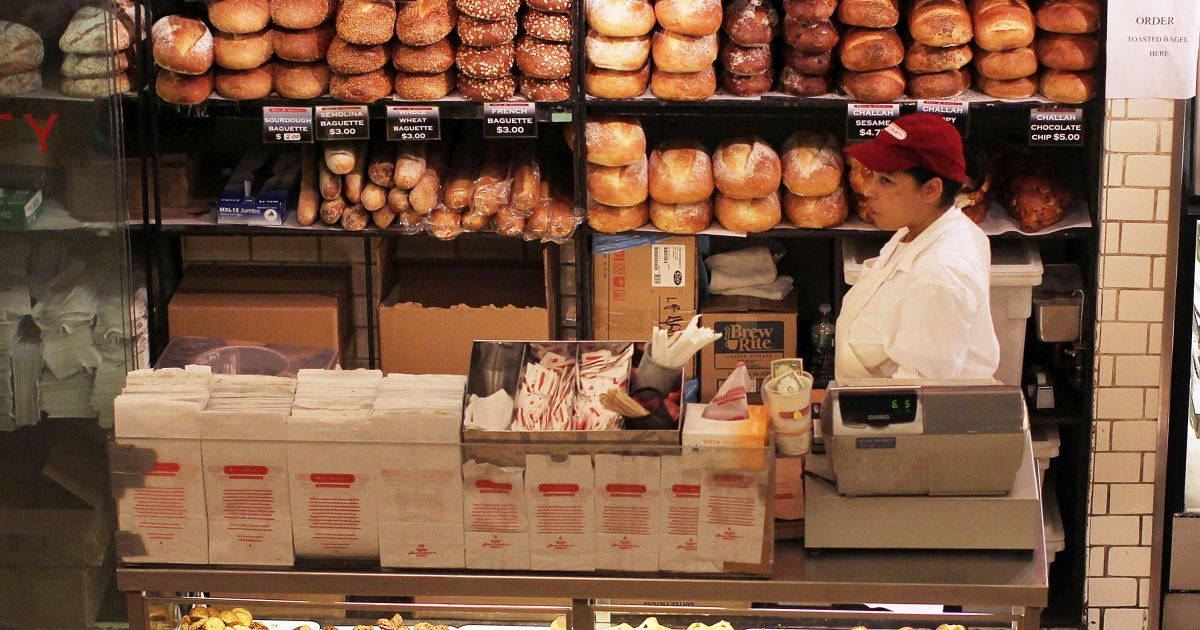 A store sells bread on April 19, 2011 in New York City.</p>