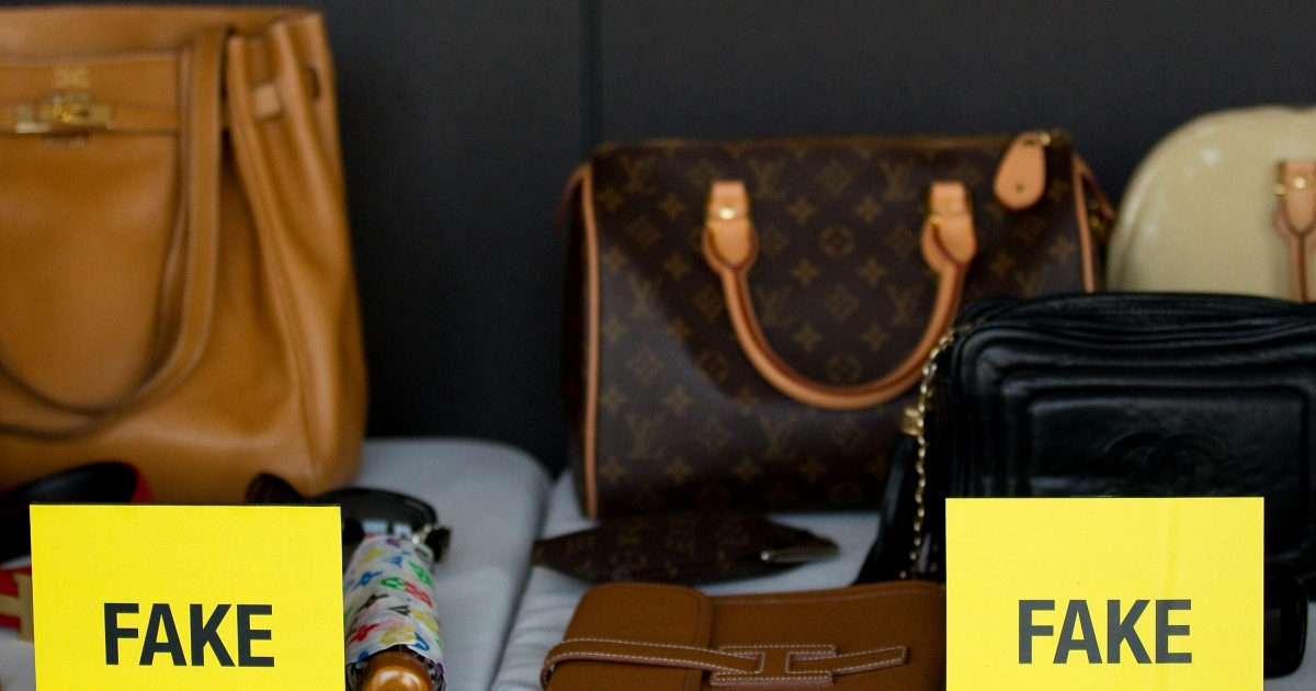 A view of fake bags at Harper's Bazaar Annual Anti-counterfeiting Summit at Hearst Tower on April 26, 2011 in New York City.</p>