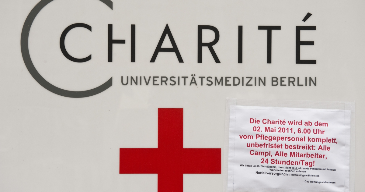 A sign outside the Charite hospital in Berlin.</p>