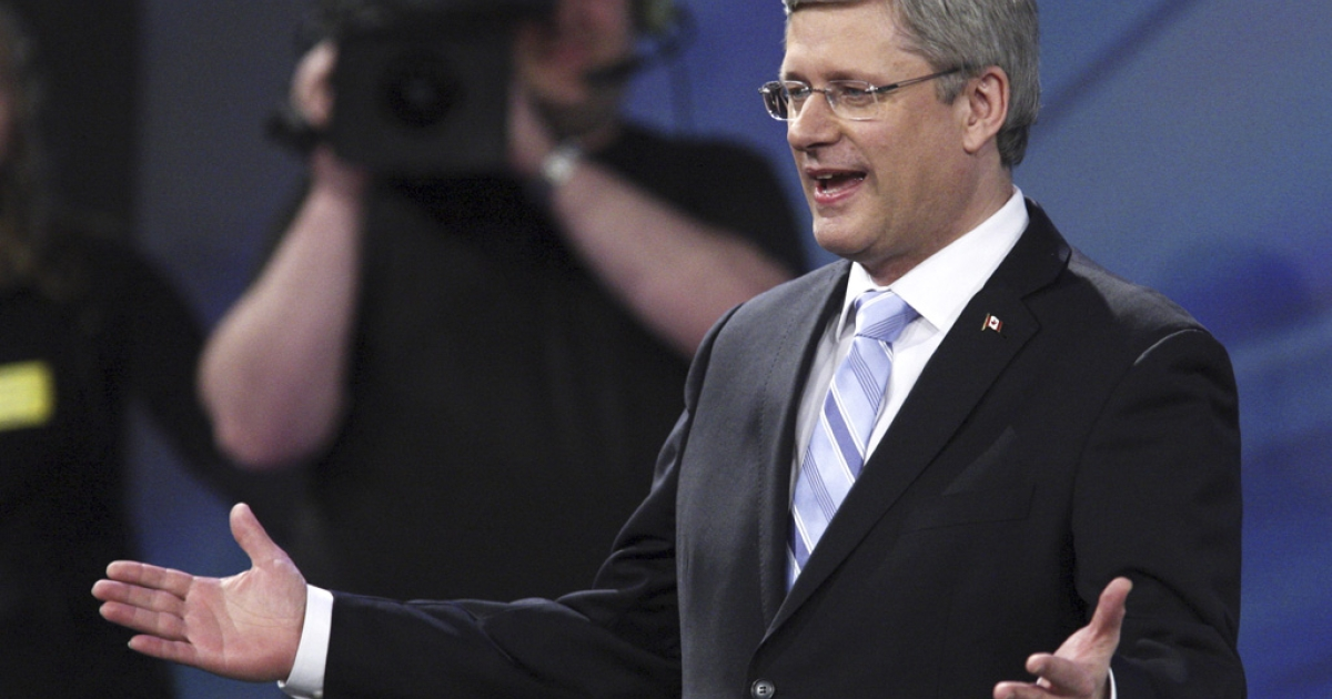 Canadian Prime Minister Stephen Harper, seen here celebrating in Calgary, denied any knowledge of alleged voter suppression tactics used in the May 2 federal election.</p>