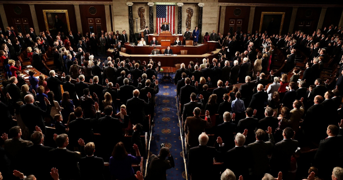The 113th Congress is sworn in Jan. 3, 2013 in Washington, D.C. As polarization increases, the debt ceiling, sequestration, and the 2013 budget will become increasingly difficult to handle.</p>