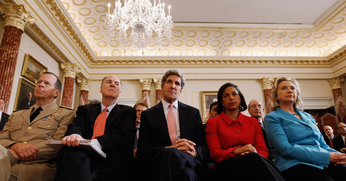 Chairman of the Joint Chiefs of Staff Admiral Mike Mullen, National Security Adviser Tom Donlion, Sen. John Kerry (D-MA), UN Ambassador Susan Rice and Secretary of State Hillary Clinton listen to President Barack Obama deliver a speech on Mideast and North Africa policy in the Ben Franklin Room at the State Department May 19, 2011 in Washington, DC.</p>