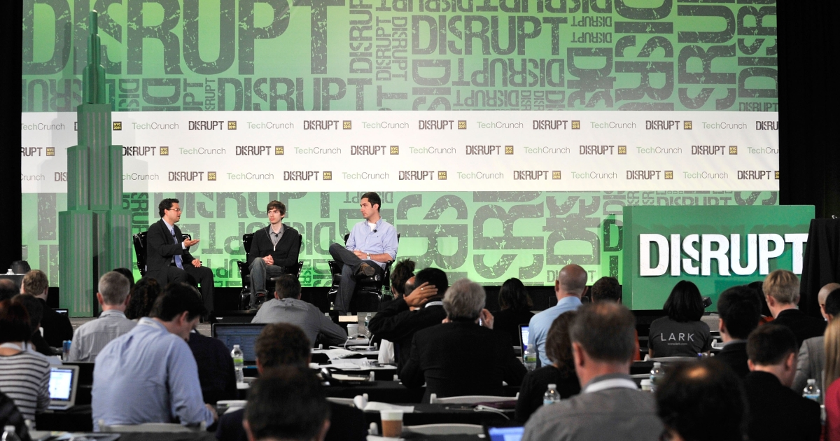 Erick Schonfeld, David Karp of Tumblr, and Kevin Systrom of Instagram during TechCrunch Disrupt New York May 2011 at Pier 94 on May 24, 2011 in New York City.</p>