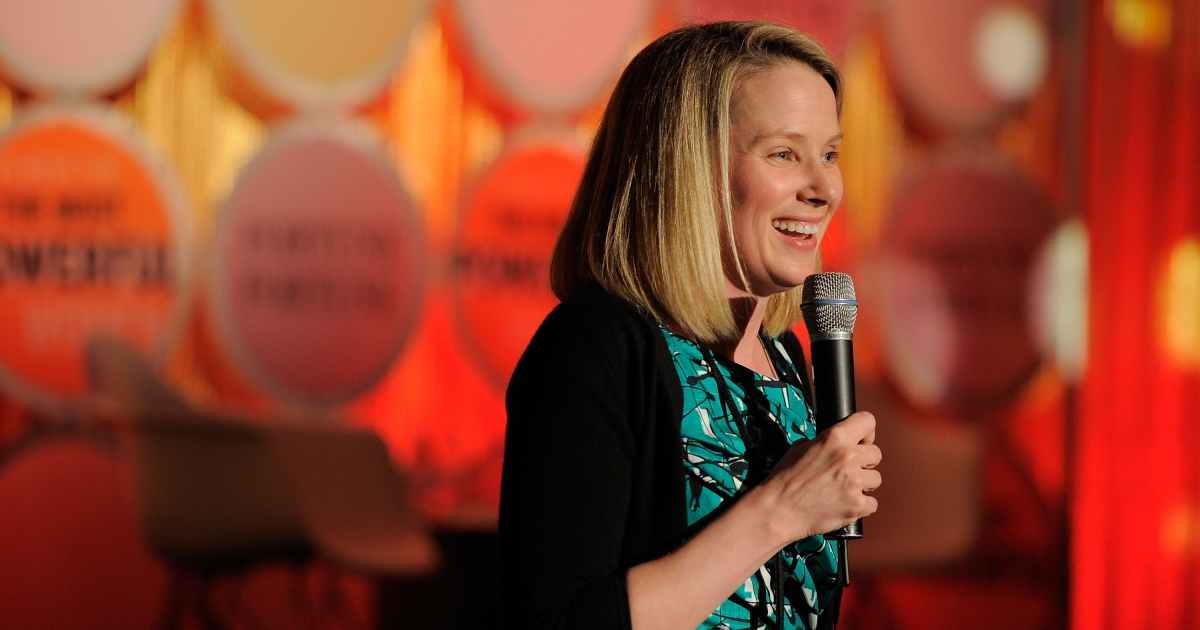 Yahoo CEO Marissa Mayer should be smiling after the search engine giant topped Google in U.S. web traffic in July.</p>