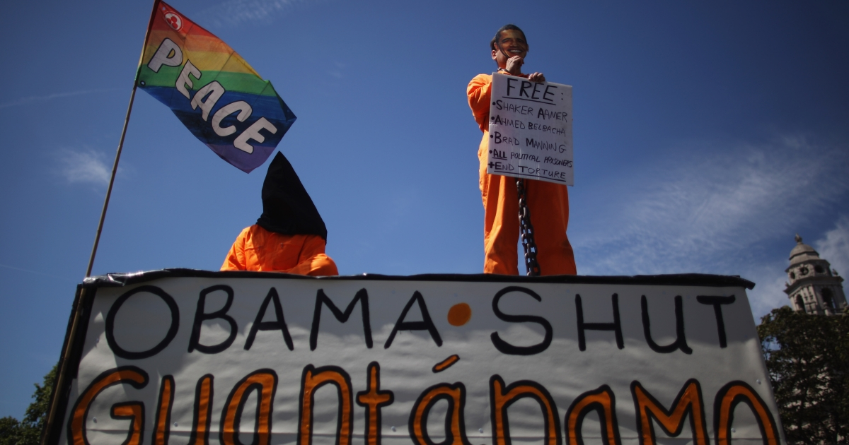 Protesters stage a demonstration against US policy at Guantanamo Bay detention camp.</p>