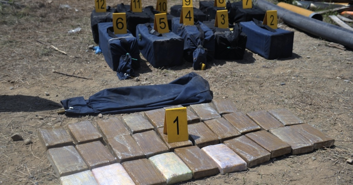 View of some cocaine packs --of a 336 kg confiscation-- seized after a confrontation with alleged drug-traffickers in the municipality of Rancho, Progreso Department, some 80 km north of Guatemala City, on May 31, 2011.</p>