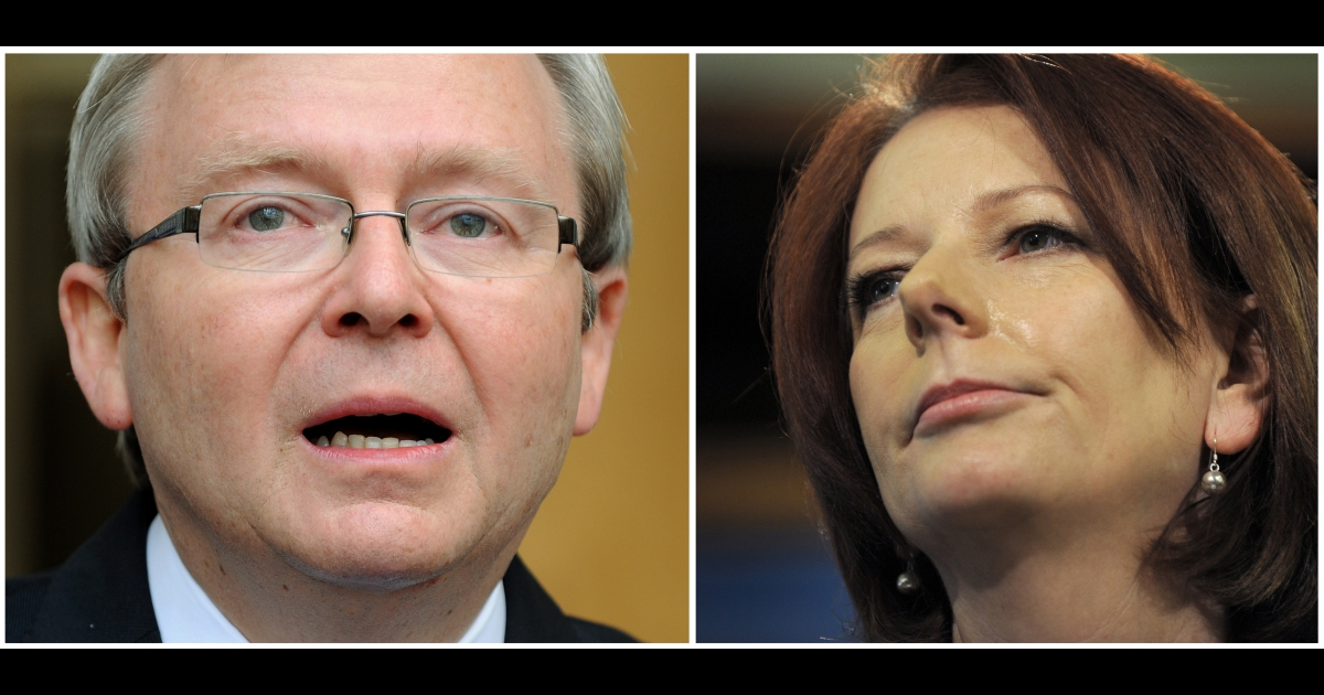 Australian Prime Minister Julia Gillard (R) in Melbourne on August 6, 2010 and former Australian Prime Minister Kevin Rudd (L) shedding a tear as he steps down as prime minister, in Canberra on June 24, 2010.</p>