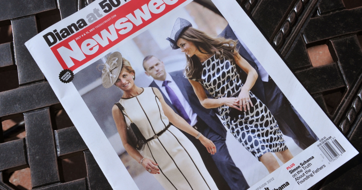A Newsweek magazine is viewed on June 29, 2011 in Washington, DC from the July 4 and 11, 2011 double issue of 'Newsweek' featuring a cover photo that shows a computer-generated image of Princess Diana walking with Kate Middleton to depict what she might have looked like on her fiftieth birthday on July 1, 2011.</p>