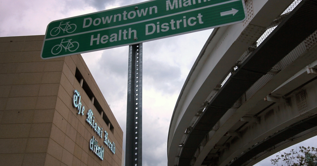 The Miami Herald building in Biscayne Boulevard.</p>