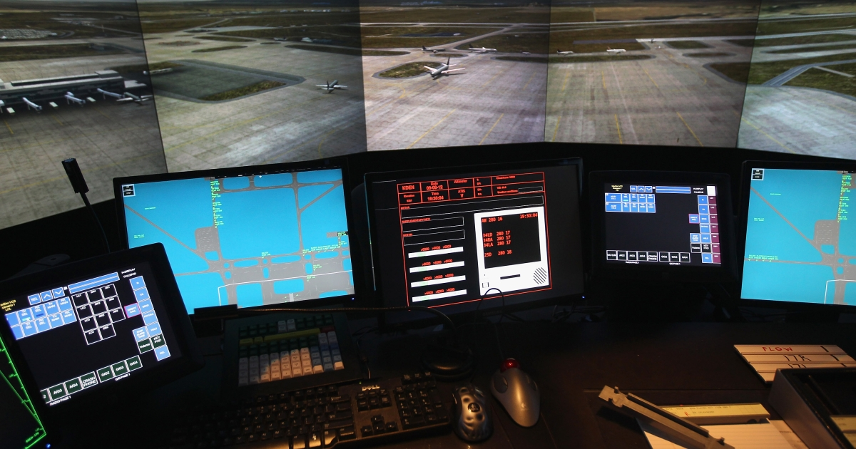 An airport tower simulator awaits trainees on July 14, 2011 at the Denver International Airport in Denver, Colorado.</p>