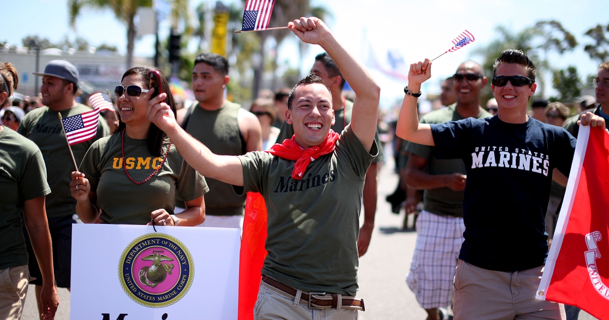 Marine Jaime Rincon marches down University Avenue, with other military personel, during the San Diego Gay Pride Parade on Saturday, July 16, 2011 in San Diego, California.</p>