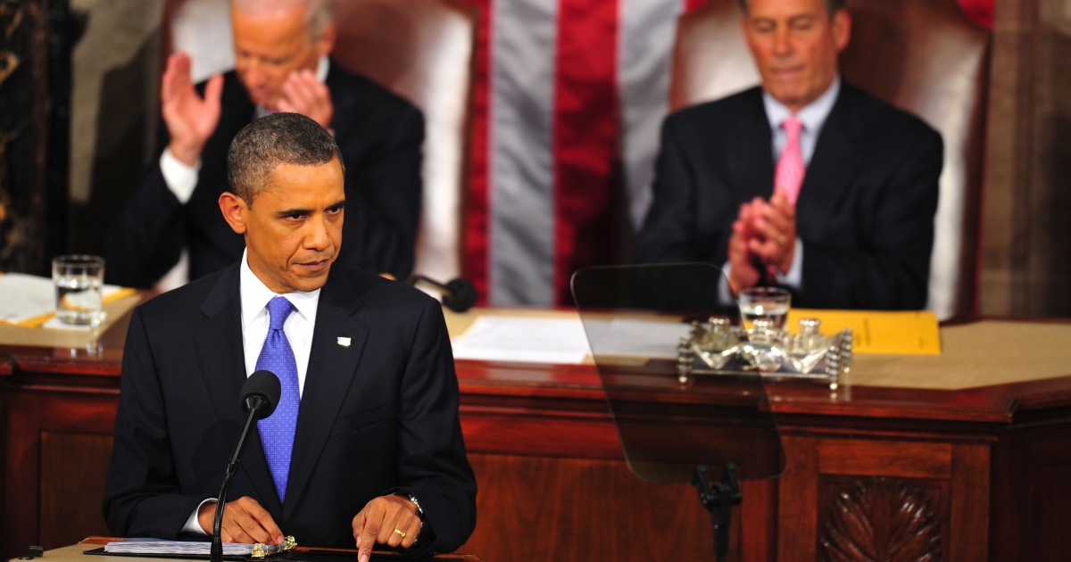 President Barack Obama addresses a Joint Session of the United States Congress on Sept. 8, 2011, on Capitol Hill in Washington, DC. Obama Thursday unveiled a $447 billion jobs plan which he said would