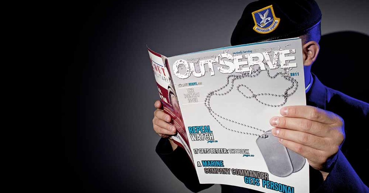 A gay member of the US Air Force who chooses to not be identified reads a copy of the new magazine 'OutServe' intended for actively serving lesbian, gay, bi, and transgender, US military members September 15, 2011 in Washington, DC.</p>