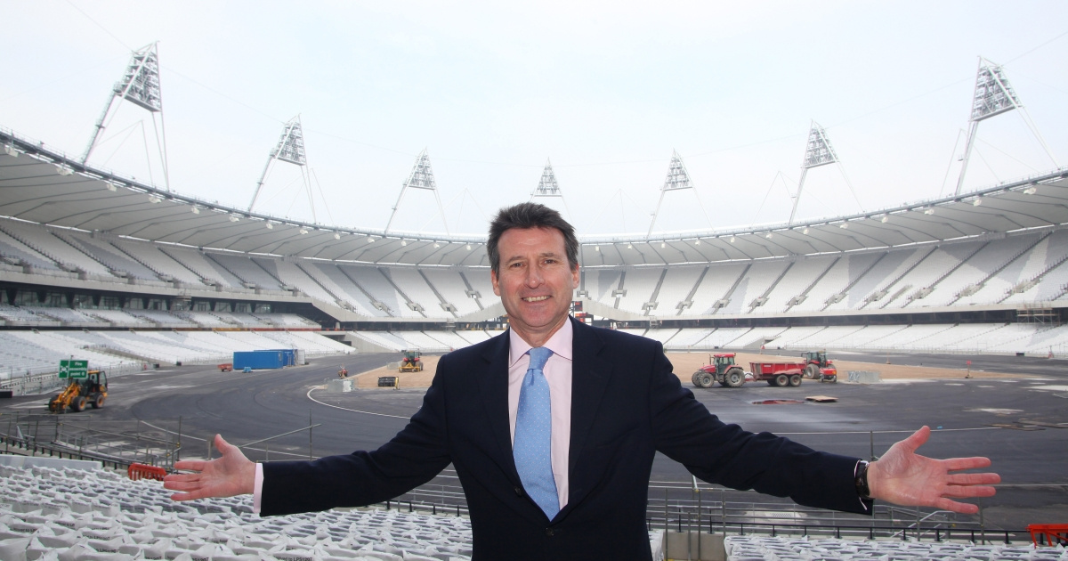 Sebastian Coe, London 2012 Chairman, poses for pictures at the Olympic Stadium in Stratford, east London, on March 15, 2011.</p>