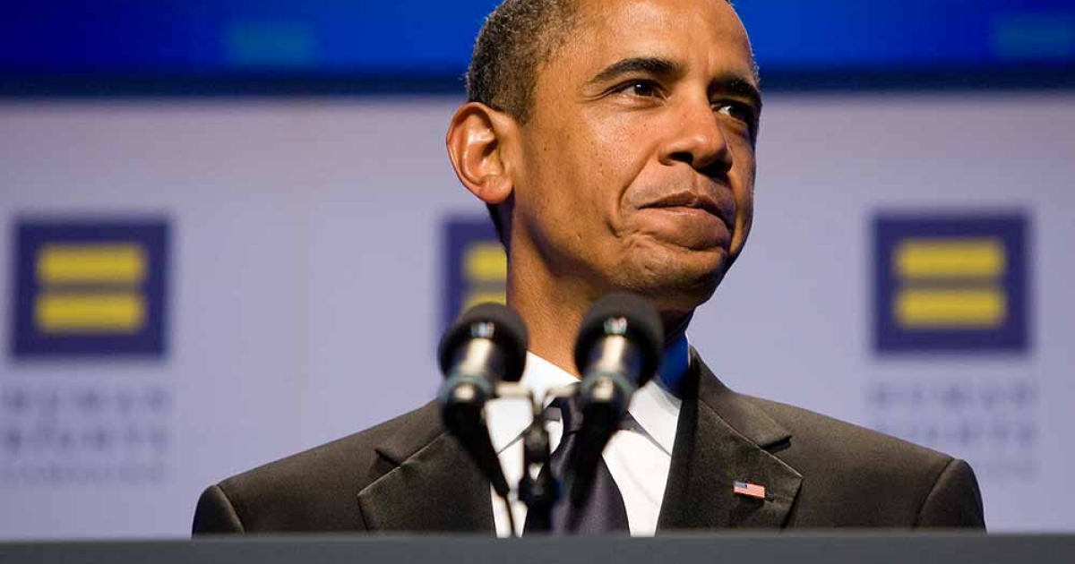 U.S. President Barack Obama delivers remarks during the Human Rights Campaign's 15th Annual National Dinner at the Washington Convention Center on October 1, 2011 in Washington, DC. The President spoke to one of the leading gay rights groups two weeks after the repeal of the military's 'Don't Ask, Don't Tell' policy.</p>