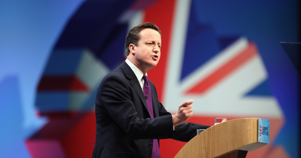 British Prime Minister David Cameron delivers his keynote speech to delegates at the annual Conservative Party Conference at Manchester Central on October 5, 2011 in Manchester, England.</p>