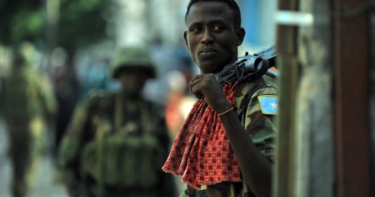 Somalia's violence and instability have spilled over into Kenya. Here a soldier of Somalia's Transitional Federal Government patrols the Somalia capital, Mogadishu.</p>