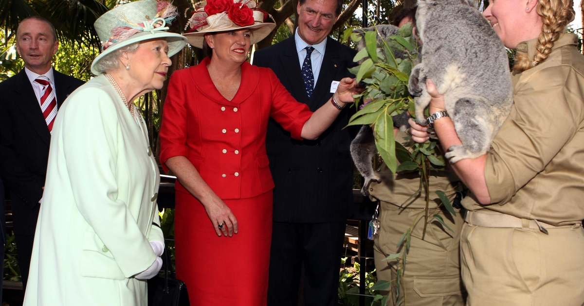 Putting the queen back in Queensland: former Queensland Premier Anna Bligh shows Queen Elizabeth II a koala during a visit to Rainforest Walk, Southbank, on October 24, 2011 in Brisbane, Australia.</p>
